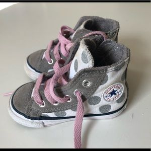 Converse Toddler Silver Polka Dot Leather Pink 5